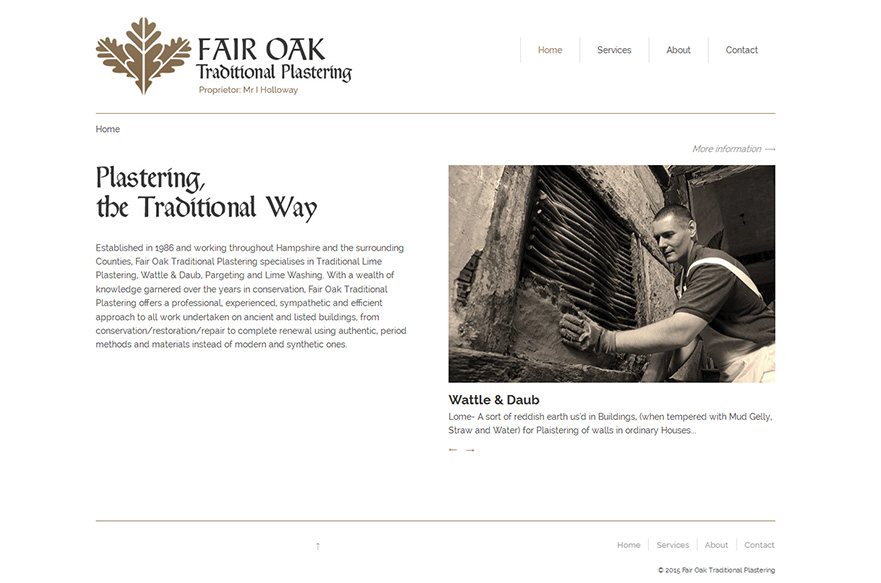Fair Oak Traditional Plastering Website